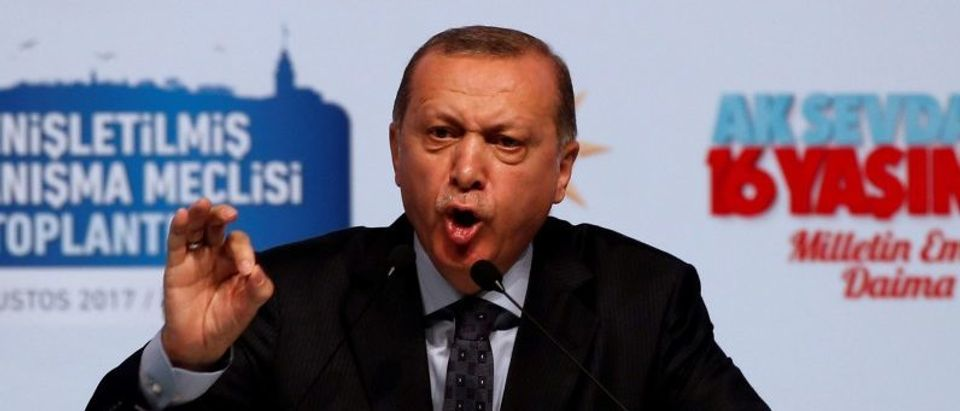 Turkish President Erdogan speaks during a meeting of his ruling AK Party in Istanbul