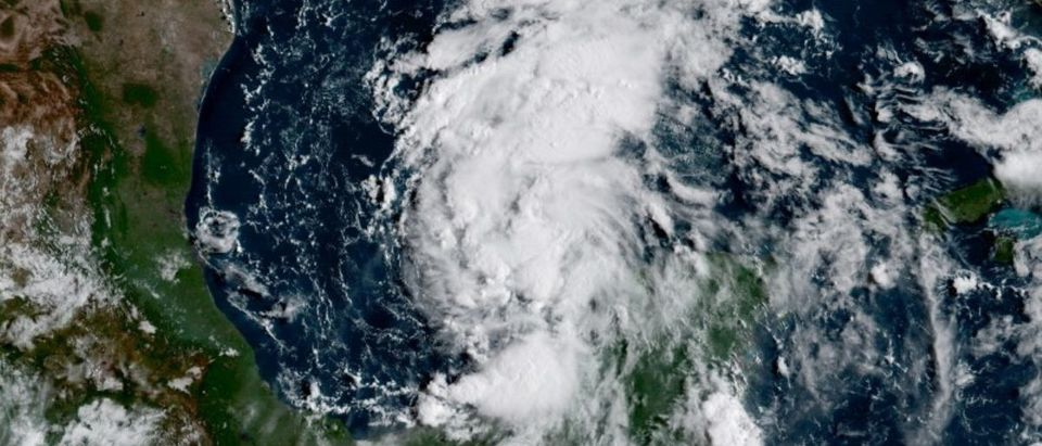 Tropical storm Harvey in the Gulf of Mexico, where it may strengthen into a hurricane. Courtesy NOAA/via REUTERS