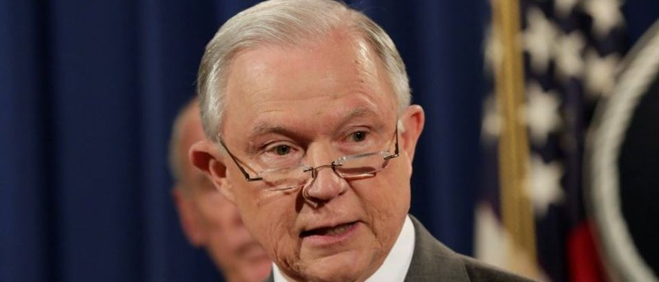 FILE PHOTO: Attorney General Jeff Sessions speaks at a briefing