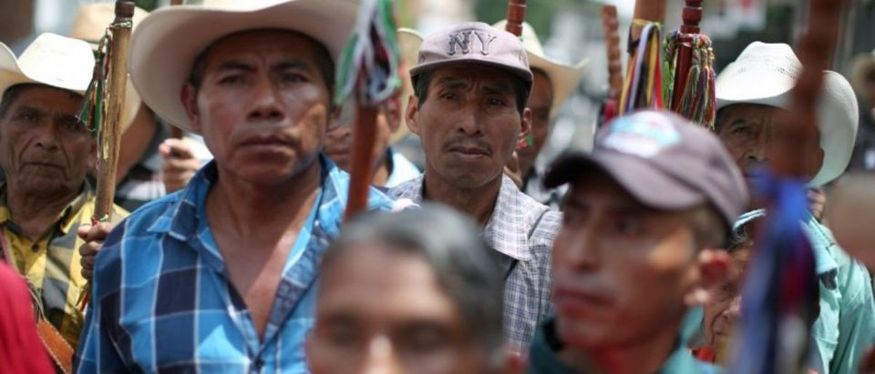 Indigenous leaders participate in a demonstration against Guatemalan President Morales in Guatemala City