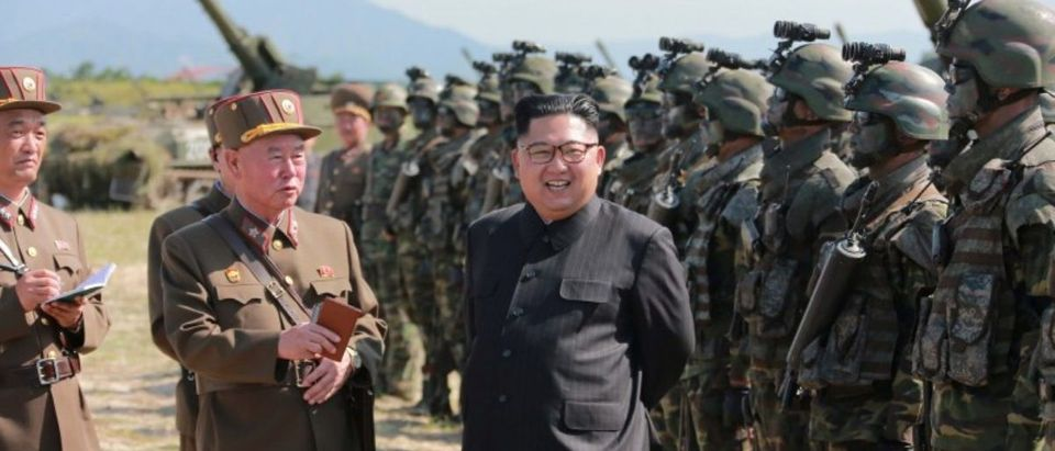 FILE PHOTO: North Korean leader Kim Jong Un guides a target-striking contest of the special operation forces of the Korean People's Army (KPA) to occupy islands in this undated picture provided by KCNA in Pyongyang on August 25, 2017. KCNA via Reuters