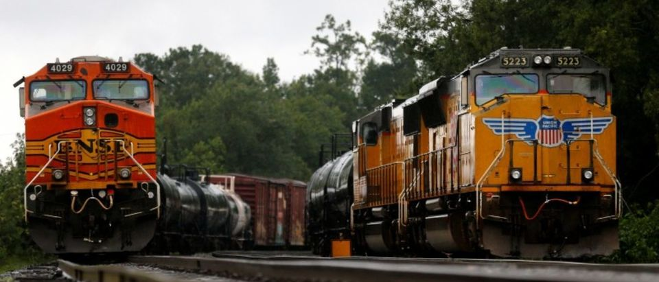 Train engines stand still on tracks in Orange, Texas, U.S., on August 30, 2017. REUTERS/Jonathan Bachman