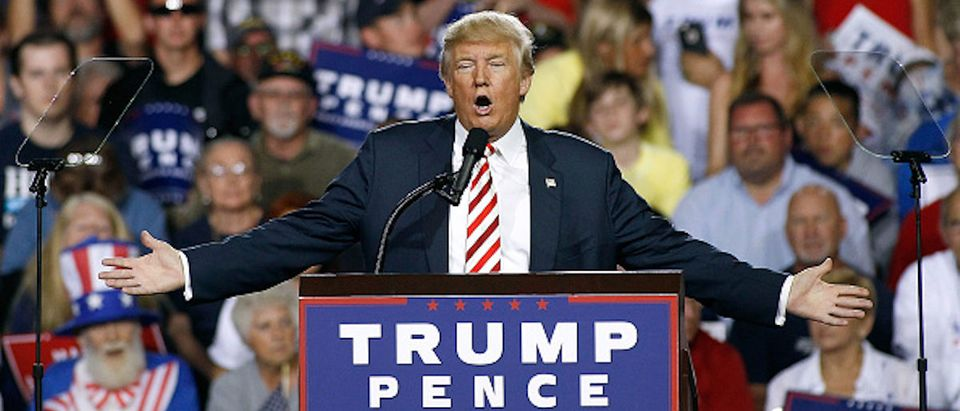 PRESCOTT VALLEY, AZ - OCTOBER 04: Republican presidential nominee Donald Trump speaks to a crowd of supporters during a campaign rally on October 4, 2016 in Prescott Valley, Arizona. Trump spoke in Arizona ahead of tonights vice-presidential debate. (Photo by Ralph Freso/Getty Images)
