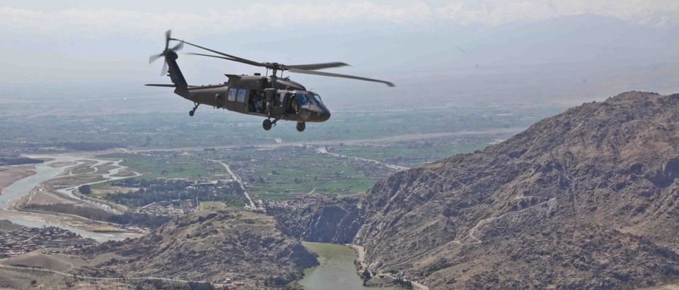 A UH-60 Black Hawk Helicopter flys to Forward Operating Base Torkham, March 28, 2012, in Nangarhar province, Afghanistan. US Army/Flickr