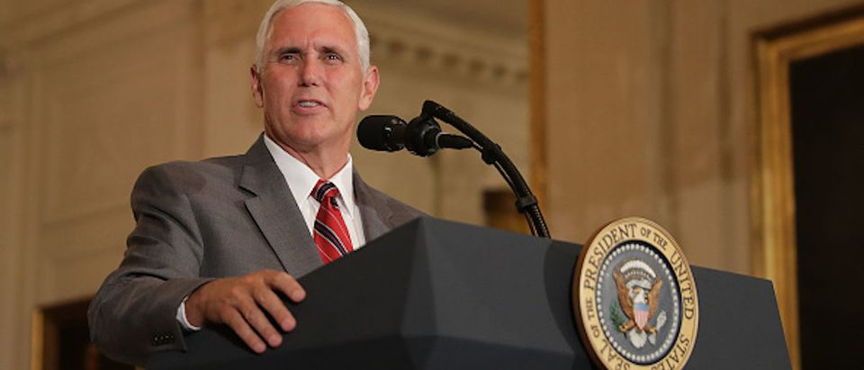 WASHINGTON, DC - JULY 17: U.S. Vice President Mike Pence introduces President Donald Trump during a Made in America product showcase in the East Room of the White House July 17, 2017 in Washington, DC. American manufacturers representing each of the 50 states participated in the showcase, including Bully Tools, Cheerwine, Stetson, Simms and RMA Armament, Charles Machine Works, Honckley Yachts, Altec Inc., Caterpiller, Pierce Manufacturing and others. (Photo by Chip Somodevilla/Getty Images)
