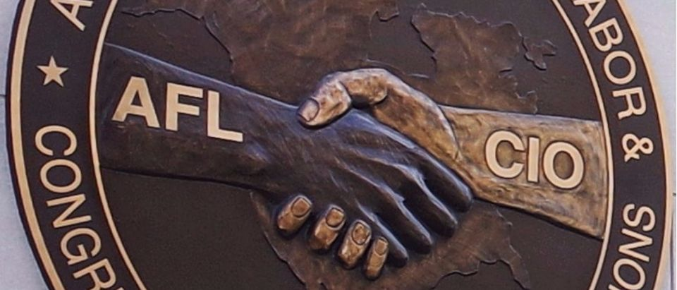 The seal of the The American Federation of Labor and Congress of Industrial Organizations (AFLCIO) at its headquarters in Washington, DC. (MANDEL NGAN/AFP/Getty Images)