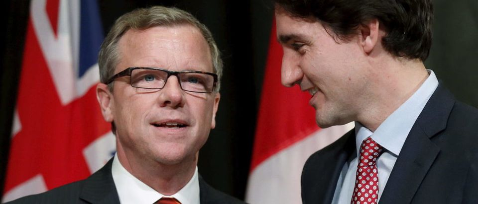 Canada's PM Trudeau greets Saskatchewan Premier Brad Wall during the First Ministers' meeting in Ottawa