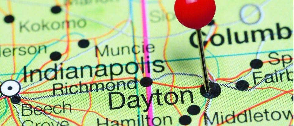 Map with a pin on Dayton, Ohio: Shutterstock/Dmitrijs Kaminskis.