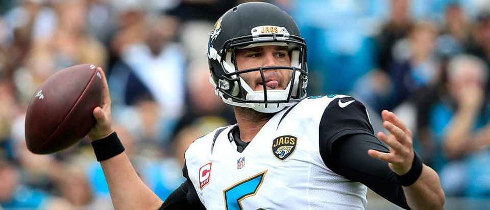Blake Bortles #5 of the Jacksonville Jaguars attempts a pass during the game against the Houston Texans at EverBank Field on October 18, 2015 in Jacksonville, Florida. (Photo by Sam Greenwood/Getty Images)