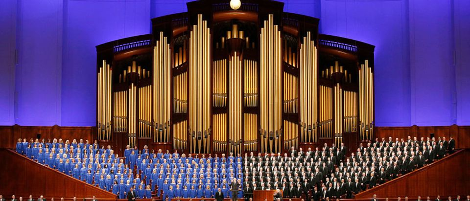 SALT LAKE CITY, UT - APRIL 2: The Mormon Tabernacle Choir and church leaders sing together in the Conference Center during the 186th Annual General Conference of the Church of Jesus Christ of Latter-Day Saints on April 2, 2016 in Salt Lake City, Utah. Mormons from around the world will gather in Salt Lake City to hear direction from church leaders at the two day conference. (Photo by George Frey/GETTY Images)