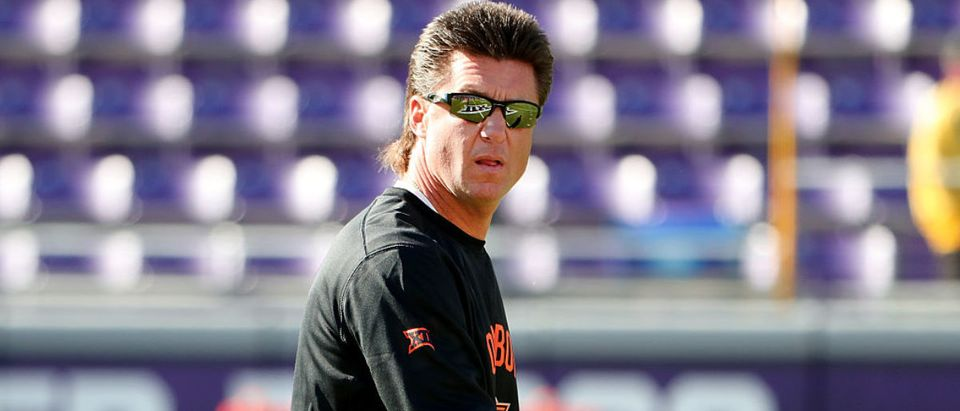 Head coach Mike Gundy of the Oklahoma State Cowboys prepares his team to take on the TCU Horned Frogs at Amon G. Carter Stadium on November 19, 2016 in Fort Worth, Texas. (Photo by Tom Pennington/Getty Images)
