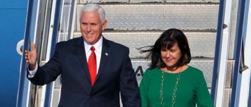 Vice President Mike Pence and his wife Karen Pence arrive at Golubovci airport near Podgorica on August 1 2017 during a tour of Eastern Europe. (Photo credit: SAVO PRELEVIC/AFP/Getty Images)