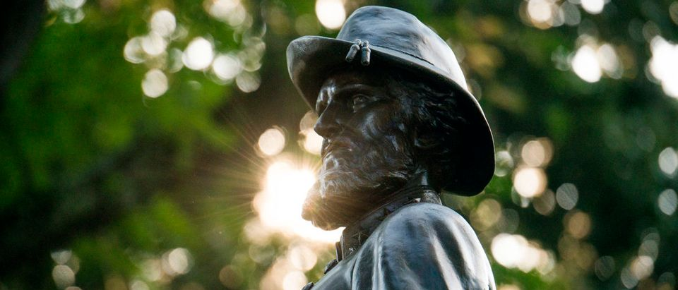 CHARLESTON, WV - AUGUST 16: The statue of Confederate General Thomas Stonewall Jackson stands at the West Virginia State Capitol Complex on August 16, 2017 in Charleston, West Virginia. At a protest on August 13, 2017, around 200 people gathered on the State Capitol complex asking the statue be removed in light of the recent tragedy in Charlottesville, Virginia. (Photo by Ty Wright/Getty Images)