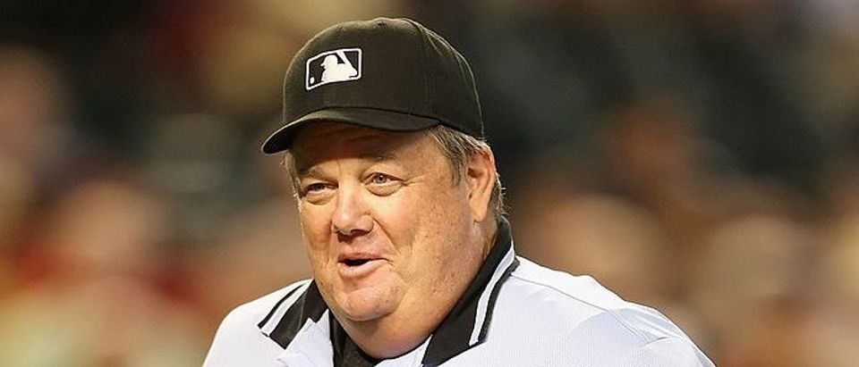 Home plate umpire Joe West during the major league baseball game between the San Diego Padres and the Arizona Diamondbacks at Chase Field on July 8, 2009 in Phoenix, Arizona. (Photo by Christian Petersen/Getty Images)