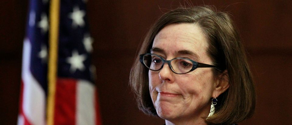 Oregon Gov. Kate Brown speaks at the state capital building in Salem, Oregon, Feb. 20, 2015. (PHOTO: REUTERS/Steve Dipaola)