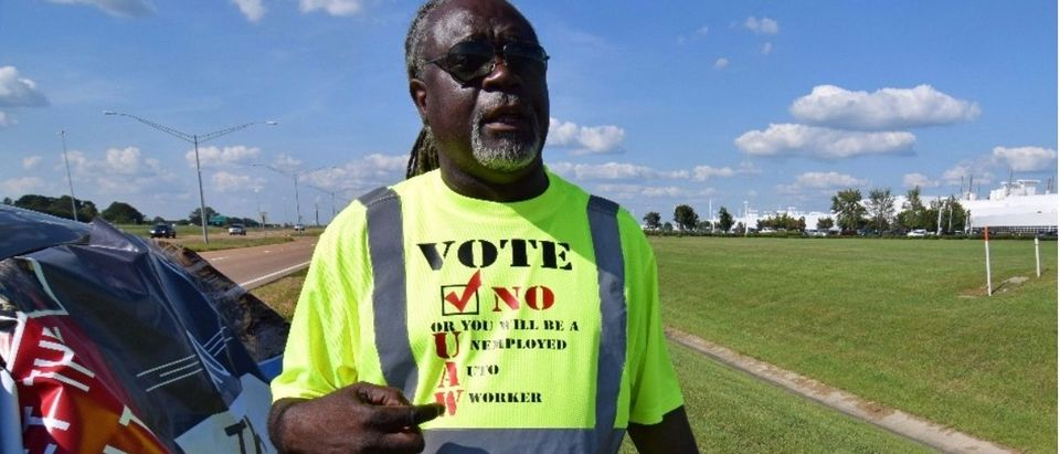 Nissan worker Tony Jacobson shows off an anti-union t-shirt outside the automaker's plant in Canton, Mississippi, U.S., July 31, 2017. Photo taken July 31, 2017. REUTERS/Nick Carey