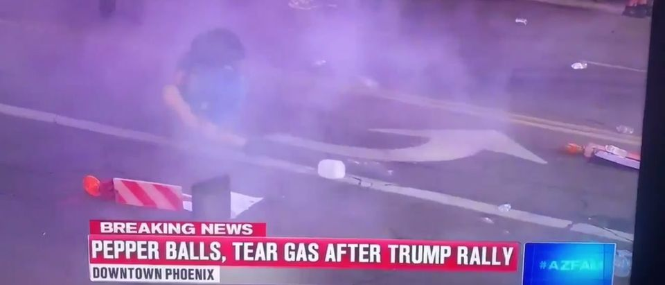 Footage of a protestor getting hit with tear gas spray is not complete without some Celine Dion.