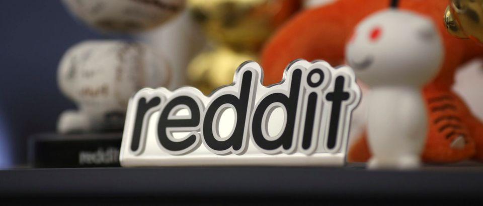 Reddit mascots are displayed at the company's headquarters in San Francisco