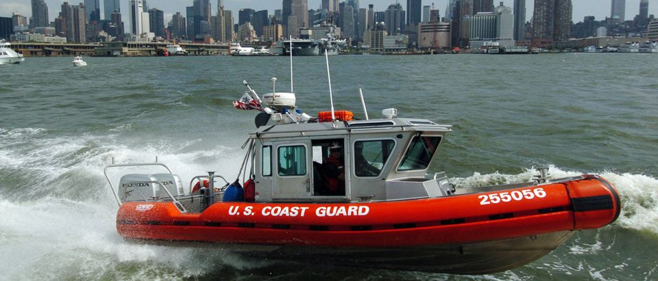 A Coast Guard maritime security patrol boat motors down the Hudson River in New York during a security demonstration August 26, 2004. REUTERS/Henny Ray Abrams