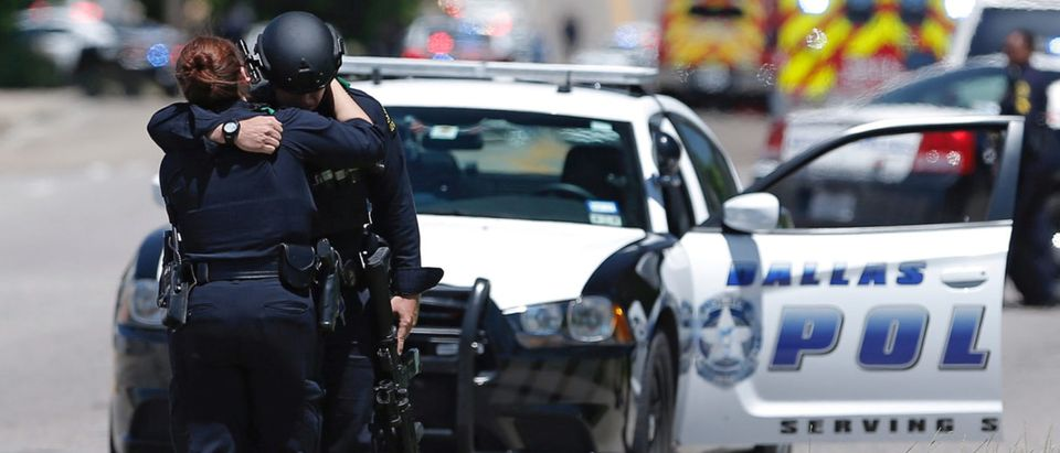 Dallas police officers after police responded to a shooting incident in Dallas