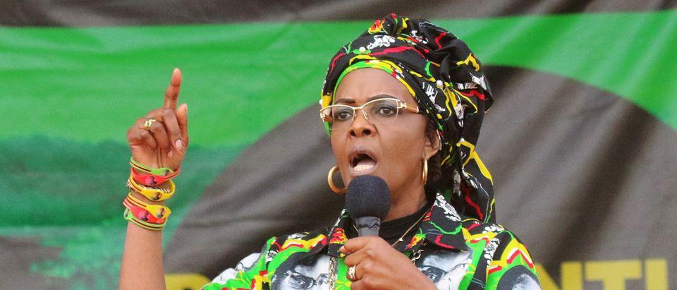 President Robert Mugabe's wife Grace addresses a rally of the ruling ZANU (PF) in Chinhoyi, Zimbabwe