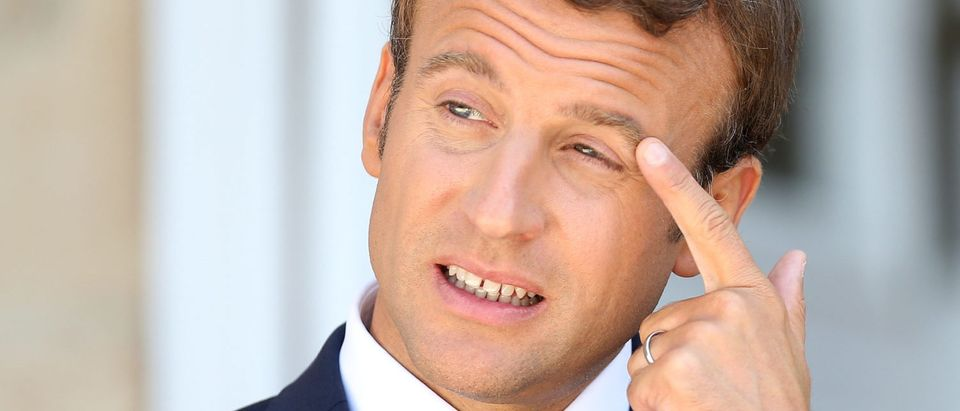 French President Emmanuel Macron reacts during a joint news conference with Bulgarian Prime Minister Boyko Borissov at Euxinograd residence