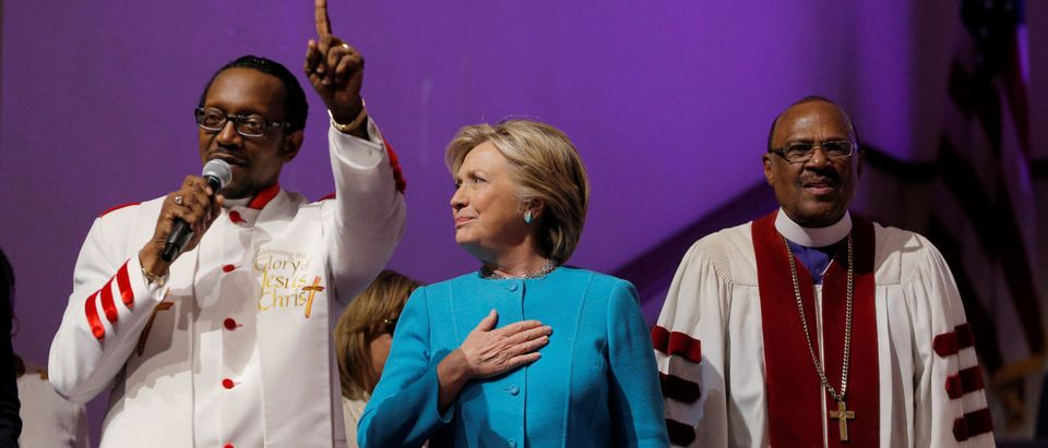 U.S. Democratic presidential nominee Hillary Clinton reacts as she is introduced during services at Mt. Airy Church of God in Christ in Philadelphia