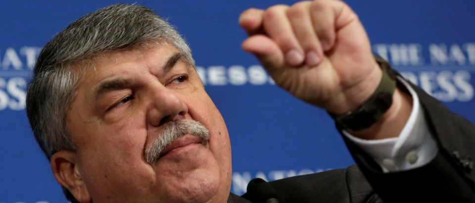 AFL-CIO President Richard Trumka speaks during a National Press Club luncheon to discuss the labor movement's strategy under Trump's administration, in Washington