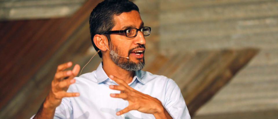 Google's CEO Sundar Pichai speaks on stage during a conference tagged 'Google for Nigeria' in Lagos