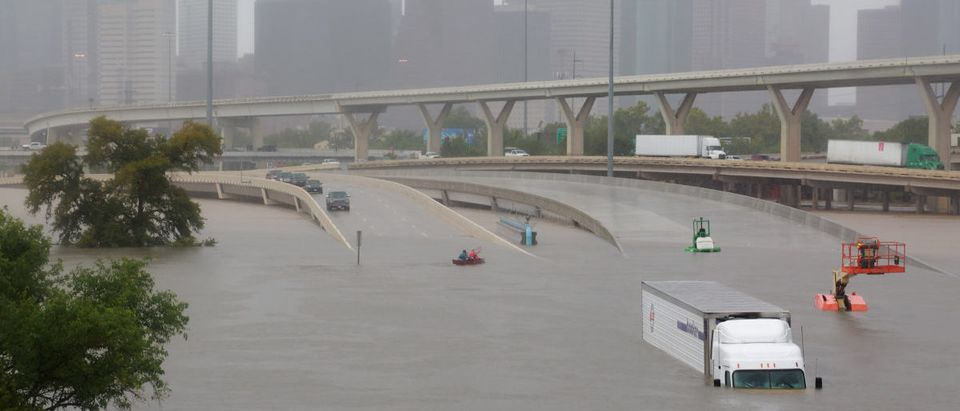 Submerged freeways from the effects of Hurricane Harvey are seen during widespread flooding in Houston