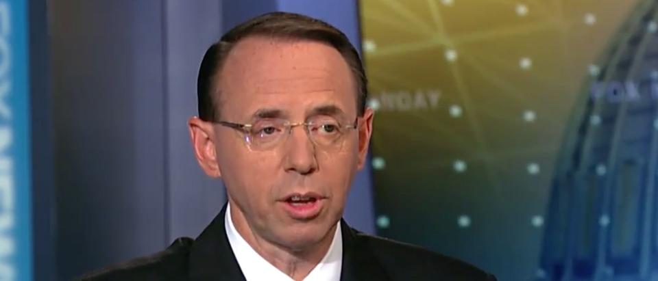 Fox News screenshot/Rod Rosenstein addresses efforts to stop White House leaks/ Fox News