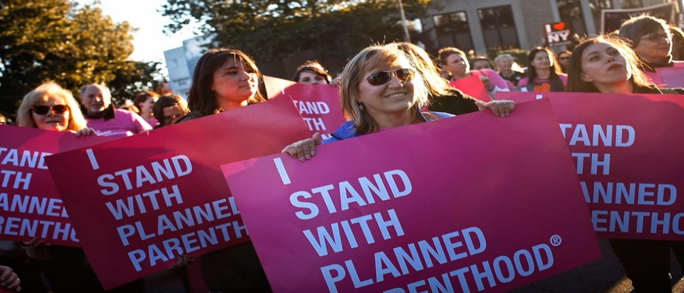 Here is a photo from a Planned Parenthood rally. (Youtube screenshot/Secular Talk)