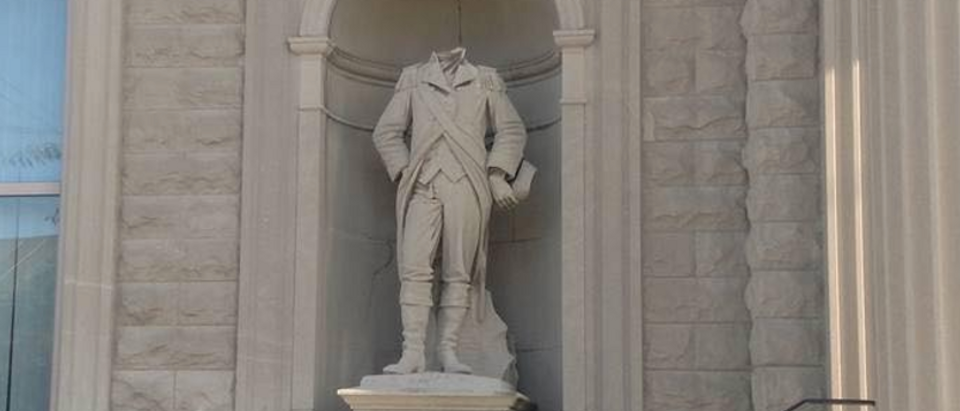 Beheaded Col. William Crawford statue outside Crawford County (Ohio) courthouse. (Photo courtesy of Joel Spitzer)