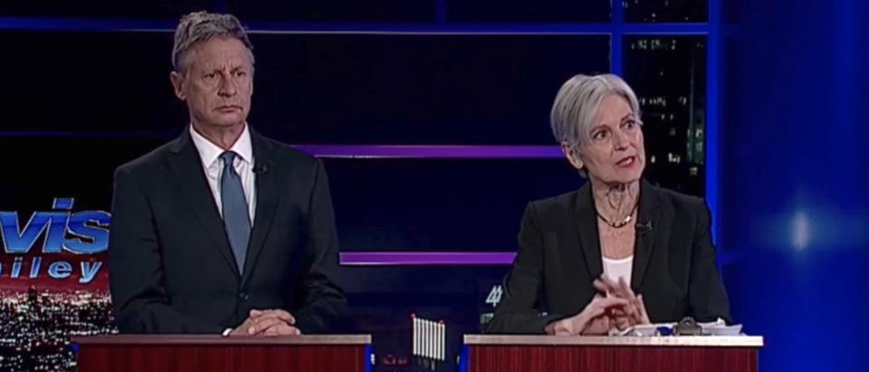 Presidential candidates Gary Johnson and Jill Stein debate in Nov. 2016. (YouTube screenshot/2016 US Presidential Debates)