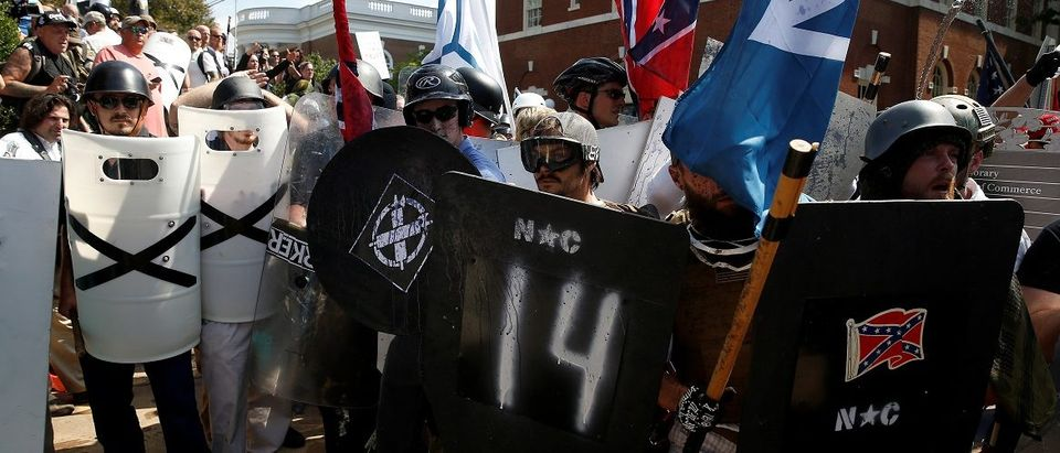 White supremacists clash with counter protesters at a rally in Charlottesville, Virginia