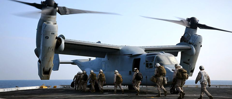 Marines with the 11th Marine Expeditionary Unit (MEU), board an MV-22B Osprey during flight operations on the amphibious transport dock ship USS San Diego (LPD-22), Dec. 23. The 11th MEU is deployed with Makin Island Amphibious Ready Group as a theater reserve and crisis response force throughout U.S. Central Command and 5th Fleet area of responsibility. (U.S. Marine Corps photo by Cpl. Jonathan R. Waldman/Released)