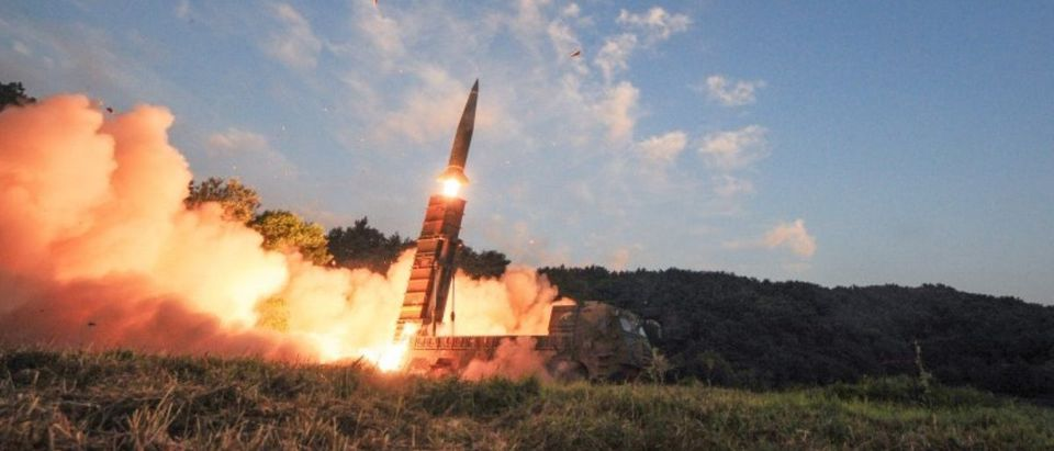South Korean troops fire Hyunmoo Missile into the waters of the East Sea at a military exercise in South Korea