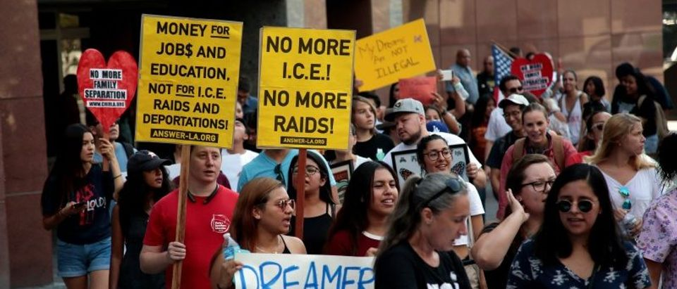 FILE PHOTO: Supporters of the DACA program recipient during a rally outside the Federal Building in Los Angeles