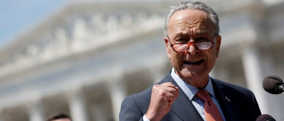 FILE PHOTO: Senate Minority Leader Chuck Schumer speaks during a press conference on Capitol Hill in Washington, U.S., August 2, 2017. REUTERS/Aaron P. Bernstein