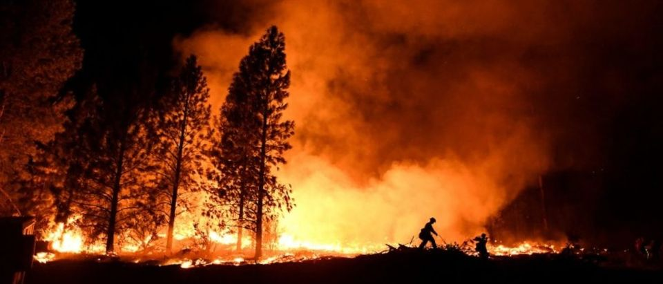 FILE PHOTO: A firefighter battles the Ponderosa Fire east of Oroville