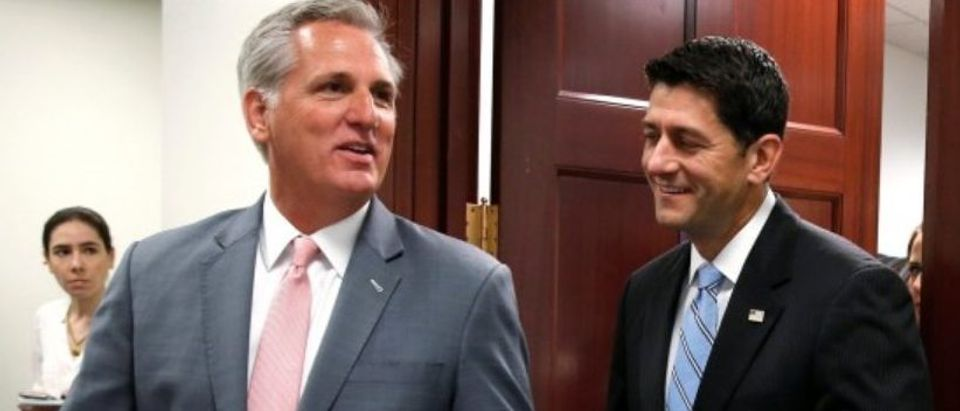 House Majority Leader Kevin McCarthy (R-CA) and Speaker of the House Paul Ryan (R-WI) walk to a press briefing on Capitol Hill in Washington