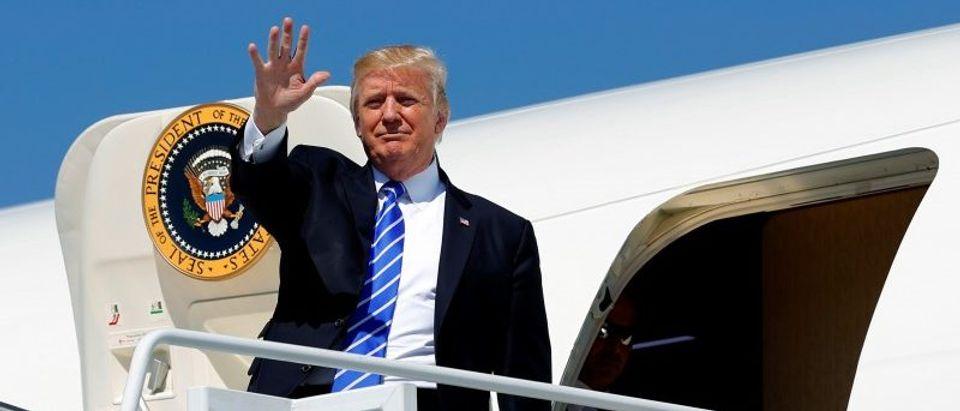 Trump arrives via Air Force One at Bismarck Municipal Airport in Bismarck, North Dakota