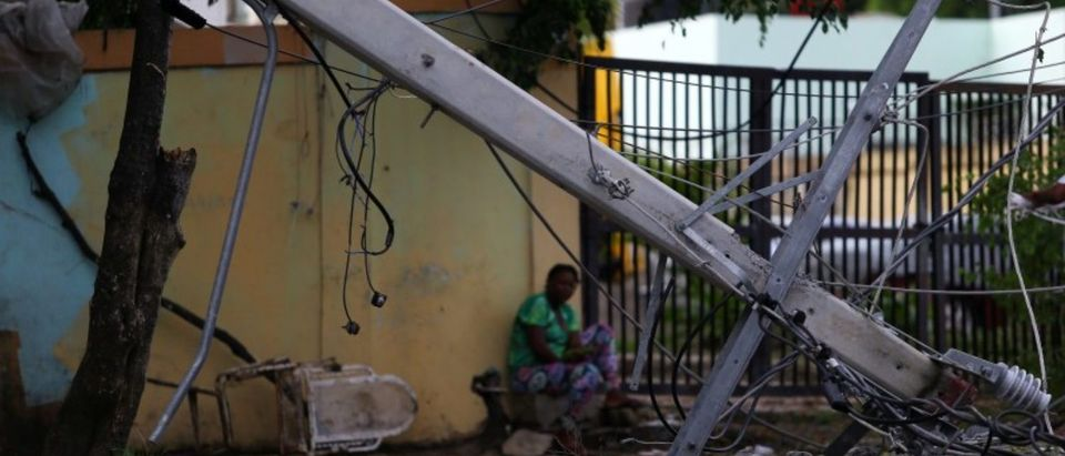 A fallen power pole is pictured in the aftermath of Hurricane Irma in Puerto Plata