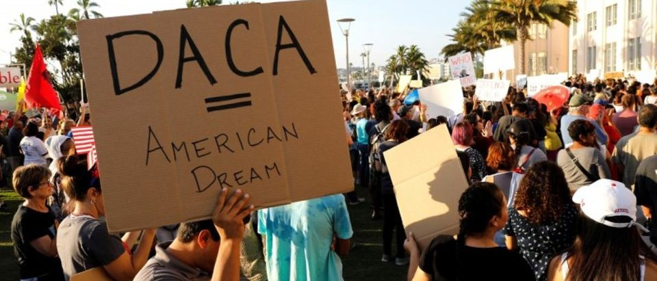 FILE PHOTO - Alliance San Diego and other Pro-DACA supporters hold a protest rally, following U.S. President Donald Trump's DACA announcement, in front of San Diego County Administration Center in San Diego, California, U.S., September 5, 2017. REUTERS/John Gastaldo