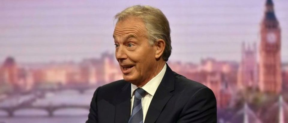 Former British prime minister, Tony Blair, appears on the BBC's The Andrew Marr Show, in central London
