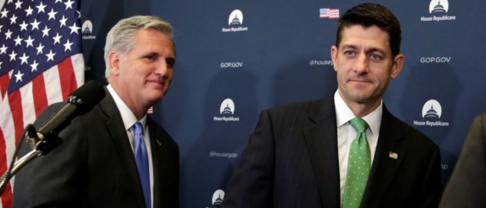 Speaker of the House Paul Ryan (R-WI) and House Majority Leader Kevin McCarthy (R-CA) leave after a news conference