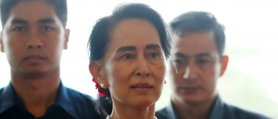 Myanmar State Counselor Aung San Suu Kyi arrives to deliver a speech to the nation over Rakhine and Rohingya situation, in Naypyitaw, Myanmar