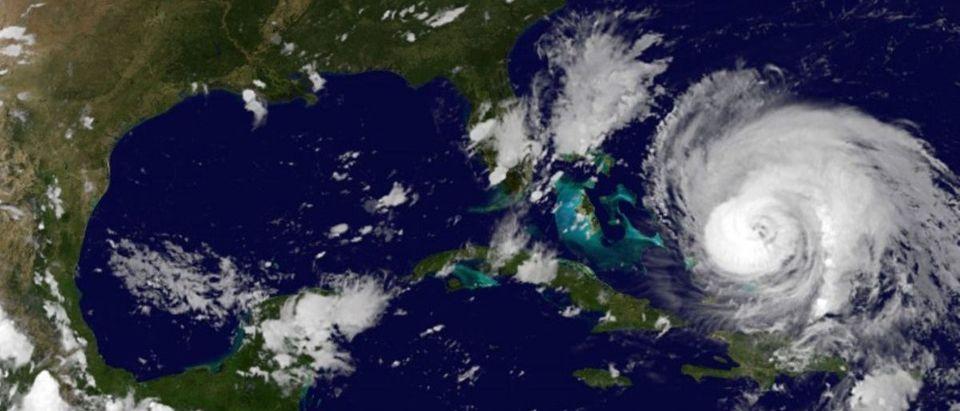 NOAA's GOES East satellite image of Hurricane Maria and Hurricane Jose in the Atlantic Ocean