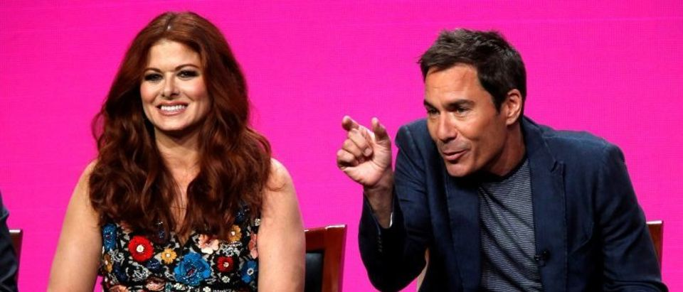 "FILE PHOTO: Cast members Messing and McCormack attend a panel for the television series ""Will & Grace"" during the TCA NBC Summer Press Tour in Beverly Hills"