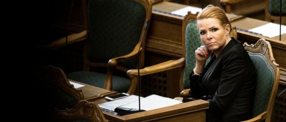 Denmark's Minister of Immigration and Integration Inger Stojberg listens to the debate in the Danish Parliament
